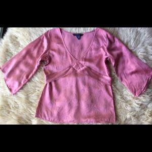 Silk Tunic Bell Sleeves VNeck Belted Empire Waist